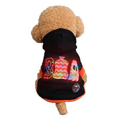 Video Of Dog In Pumpkin Costume (Halloween Pet Clothes!Elevin(TM)2017Cute Small Puppy Pet Dog Hooded LED Ghost Skull Shaking Light Jacket Outdoor Coat Costume Apparel (M, Black 1))