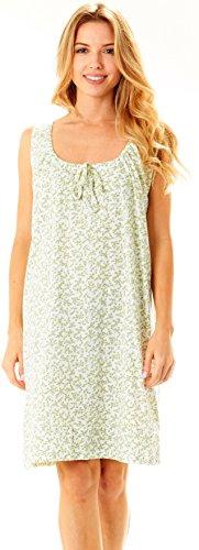 Women 100% Cotton Sleeveless Adjustable Scoop Neck Night Gown Pajamas Sleepwear (L, Aqua-903)