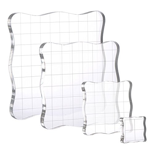 4 Pieces Stamp Blocks with Grid and Grip, Acrylic Clear Block Set
