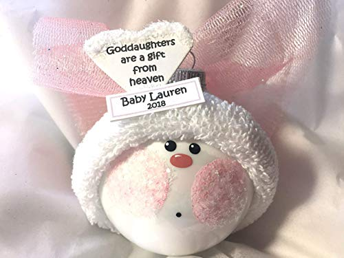 Angel Goddaughter Gift Christmas Glass Ornament White Heart Verse Gift From Heaven Personalized Hand Painted Handmade