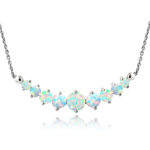 LOVVE Sterling Silver Simulated White Opal Graduated Journey Necklace with 18 Inch Chain