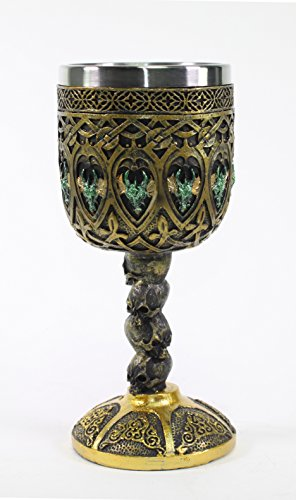 Mythical Bronze Royal Dragon Wine Goblet Skulls Medieval Collectible Magical Halloween Party Home Decor (Medieval Home Decor)