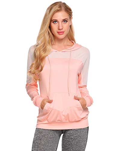 HAPLICA Ladies Sweater Patchwork Mesh Hoodies Workout Tops Crop Tops Yoga Fast Dry Fit ()