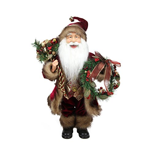 Northlight Country Cabin Santa Claus in Burgundy Holding A Wreath and Gift Bag Christmas Figure, 18