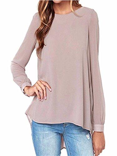 ZANZEA Women's Loose Casual Solid Long Sleeve Chiffon Shirt Tops Blouse