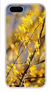 Hot iPhone 5S Customized Unique Print Design October Yellow Leaves New Fashion PC White iPhone 5/5S Cases