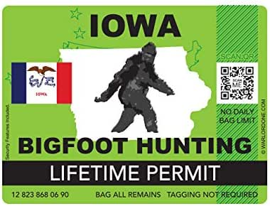 fagraphix Iowa Bigfoot Hunting Permit Sticker Die Cut Decal Sasquatch Lifetime FA Vinyl - 4.00 Wide