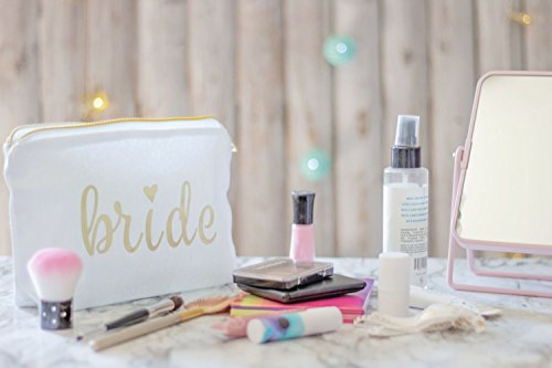 Bride Makeup Bag for Weddings, Bridal Showers, and Bachelorette Parties - Gold