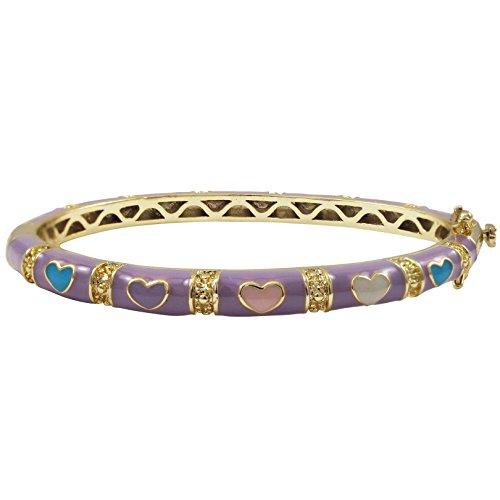 Lavender Finish - Ivy and Max Gold Finish Lavender Enamel Multi Hearts Girls Bangle Bracelet (50 mm: Age 6-13 Years)