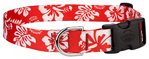 Red Hawaiian Dog - Country Brook Petz Red Hawaiian Featherweight Deluxe Dog Collar - Medium