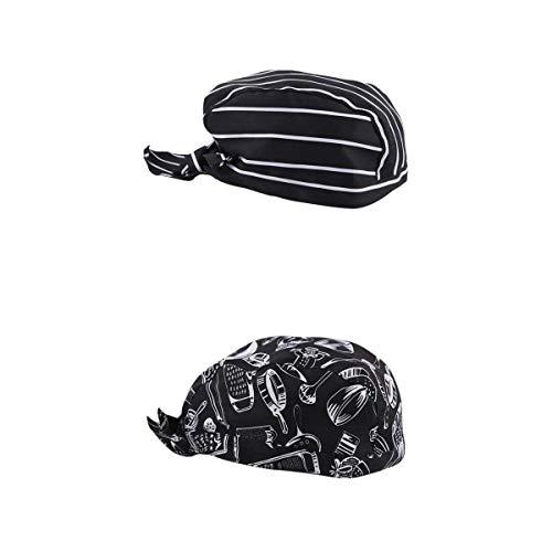 Baosity 2 Pieces Unisex Kitchen Catering Chef Skull Cap Tie Back Pirate Hat Headwrap Bandana Hat