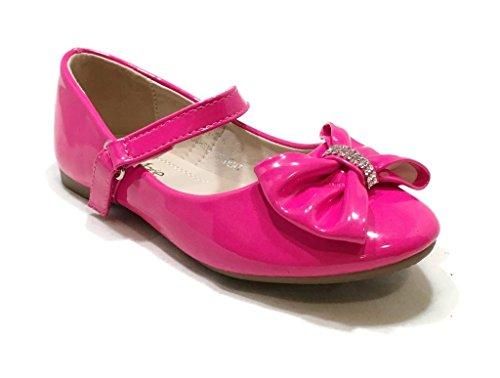 Anna Kids Dress Ballet Flats Mary Jane Slip On Comfortable Ballerina FUCHSIA Synthetic Shoes 1 US Little Kid (Pink Kids Dress Shoes)