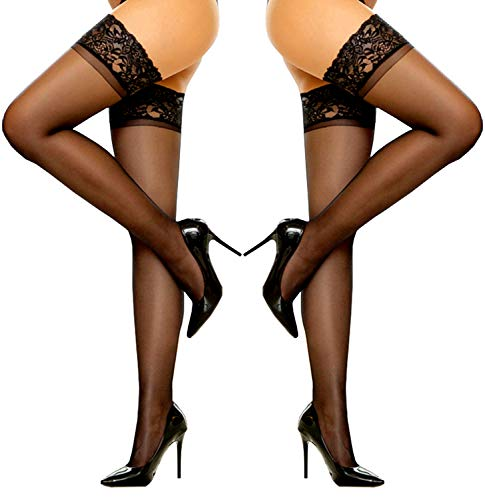 (SUREPOCH 2 Pairs Thigh High Stocking Silicone Lace Top Sheer Pantyhose Silky Tights (B, 2 Pairs Black))
