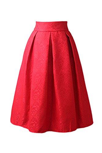Vemubapis Les Femmes Vintage Taille Haute, Jacquard Monocolor Swing Tutu, Jupe Plisse Red