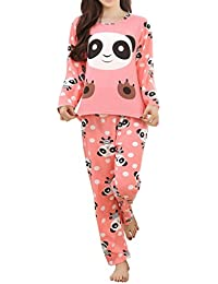 Children Girl Pajama Long Sleeve Sleepwear Cute Big-Eye Panda Nightclothes