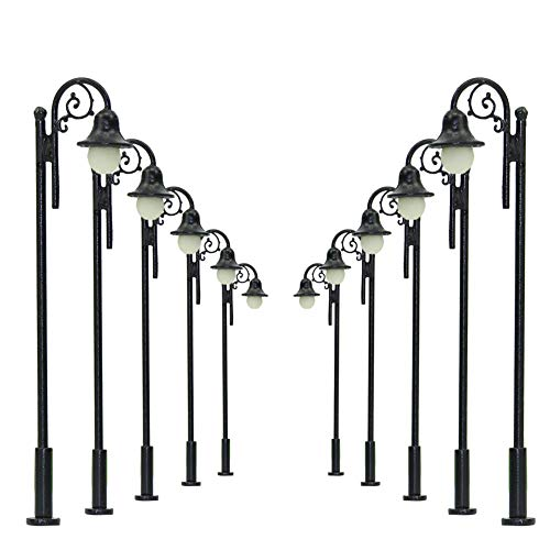 LYM39 10pcs Model Railway Train Lamp Post Street Lights HO OO Scale LEDs New