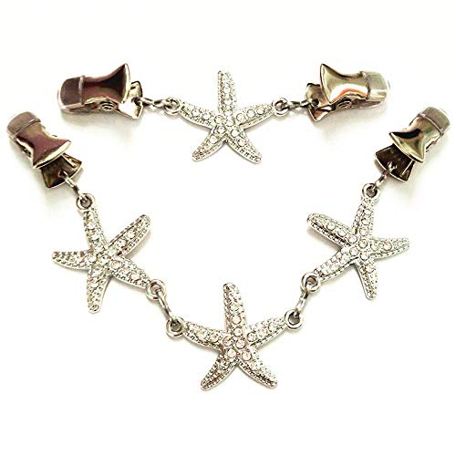 Ever Cute Starfish Sweater Guard Clips Rhinestone Jewelry Cloak Clasp Brooch Clamp Cinch with Clothing Cardigan Scarf Pins-Short+Long ()