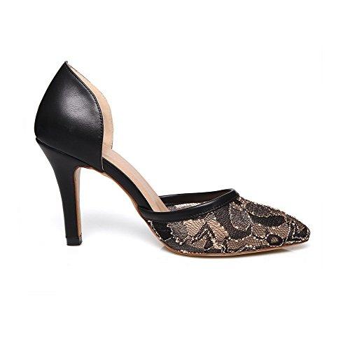 AllhqFashion Damen PU Leder Stiletto Spitz Zehe Rein Ziehen auf Pumps Schuhe Schwarz