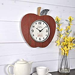 FirsTime & Co. 99682 FirsTime Apple Orchard Wall Clock, 9.5, Red