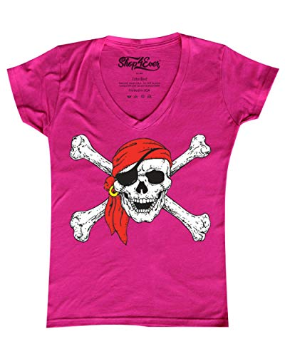Shop4Ever Pirate Skull & Crossbones Women's V-Neck T-Shirt Pirate Flag Shirts X-Large Pink 11224