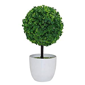 dezirZJjx Artificial Plants Artificial Potted Ornament Topiary Ball Shape Bonsai Fake Plant Home Decoration - Green 9