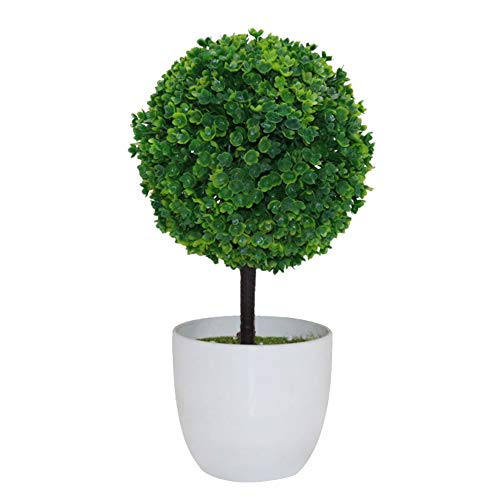 Aland Artificial Potted Ornament Topiary Ball Shape Bonsai Fake Plant Home Decoration ()