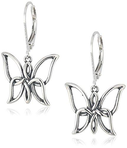 Butterfly Leverback Earrings (Sterling Silver Oxidized Celtic Knot Butterfly Leverback Dangle Earrings)