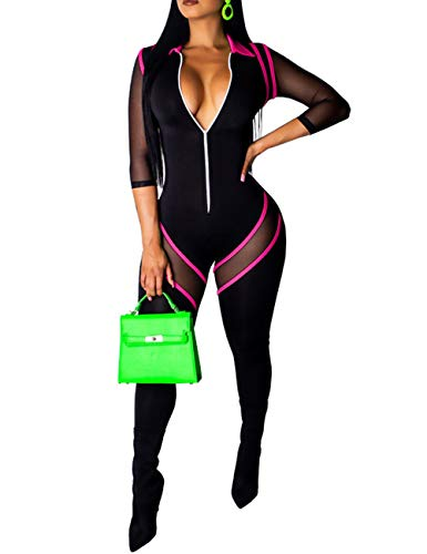 FairBeauty Women's Jumpsuits Deep V Neck Long Sleeve Bodycon Rompers Black Pink Small -