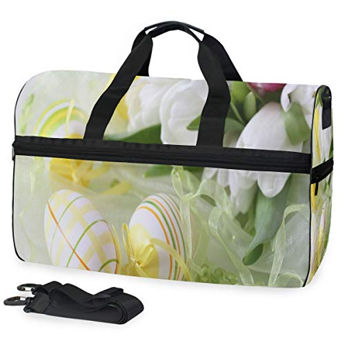 Gym Bag Easter Beautiful Decoration Sport Travel Duffel Bag with Shoes Compartment Large Capacity for Men/Women