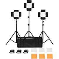Dimmable 660 LED Video Light Lighting Kit Includes: 3200k/5600K Continuous Lighting Panel with Carrying Case and Light Stand for Studio,YouTube lighting,Video Shooting[Adjustable Daylight] [Set of 3]