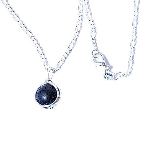 - Black Lava Rock Aromatherapy 10 mm Bead Necklace - Wirewrapped Jewelry - 16