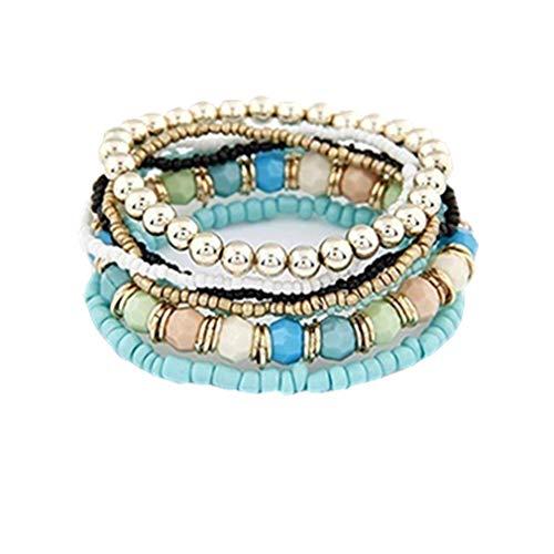 Dolland Bohemian Multi-Layer Beads Charm Stack Bracelet Hand-Knit Ethnic Elastic Strand Bangles Women Jewelry,Green ()