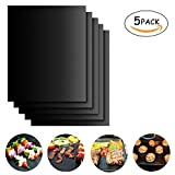 ELEOPTION Heavy Duty BBQ Grilling Pad 100% Non-stick Oven Liner Teflon Baking Mats 16 x 13 Inch for Barbecue, Grilling, Oven, Stove Cooking and Baking (5)