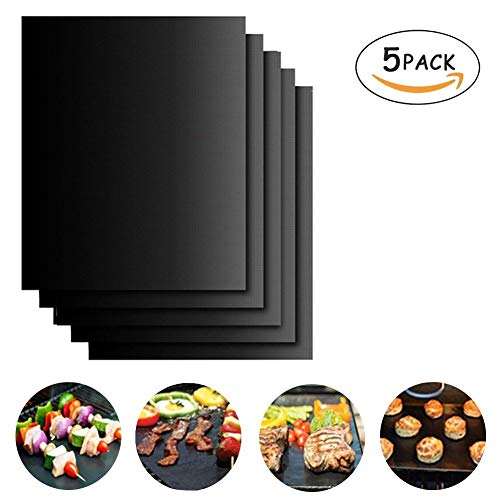 ELEOPTION Heavy Duty BBQ Grilling Pad 100% Non-stick Oven Liner Teflon Baking Mats 16 x 13 Inch for Barbecue, Grilling, Oven, Stove Cooking and Baking (5) by Eleoption