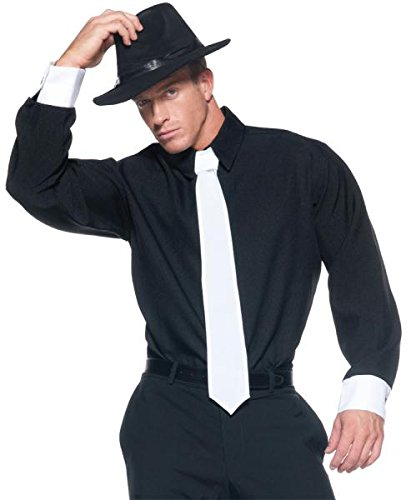 Mafia/godfather Costumes (Men's Mobster Costume  Shirt, Black, One Size)