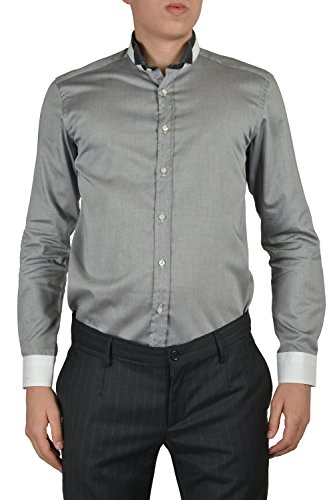 Etro Men's Gray Long Sleeve Button Down Dress Shirt Size US 15 IT 38