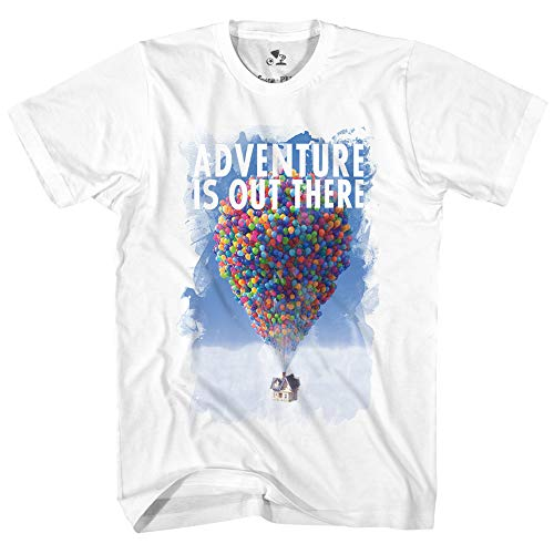 Disney Pixar Up Advernture is Out There Classic Retro Vintage Movie Disneyland World Tee Funny Humor Men's Graphic T-Shirt (White, Large) -