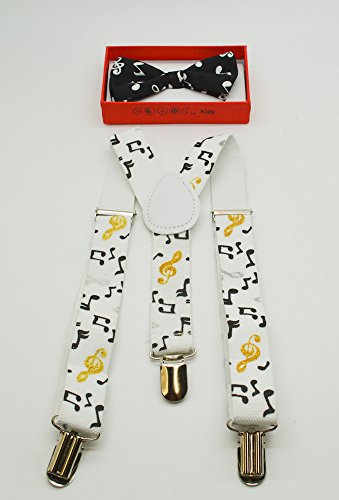 Cute Suspender and Black Music Notes Bow Tie for Toddler Baby Boys Girls