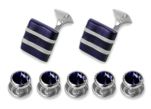Sterling silver lapis wave Cufflinks Shirt Dress Studs Gift Set by Select Gifts