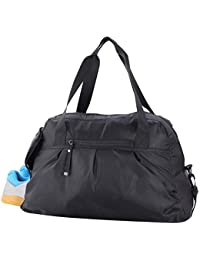 Women's Gym Bag with Shoe Compartment Travel Duffel Bag Tote, 20 inch, Black