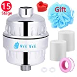 Shower Filter,Shower Water Filter 2 Pack,15-Stages Replaceable Cartridge,Handheld Universal Vitamin C Shower Head Water Filter-Water Purifier to Remove Chlorine,Fluoride,Impurities and Heavy Metals