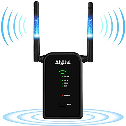 300Mbps WiFi Range Extender Aigital Wireless Repeater One Button Setup WiFi Signal Booster Support Repeater/Access Point/Router Mode 2 Antenna, 2 Ethernet Port Complies 802.11n/g/b with WPS(2.4GHz)