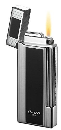 (Visol Caseti Ravensdale Chrome Plated Vertical Lines and Black Lacquer Flint Traditional Flame Lighter)