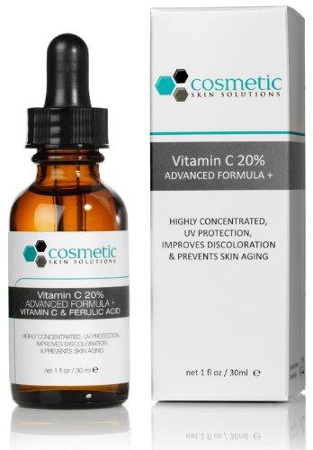 Vitamine C 20% Sérum Formule 1 oz / 30 ml - 20% de vitamine C, 0,5% d'acide férulique et l'acide hyaluronique. Très concentré, protection UV, prévient le vieillissement cutané.