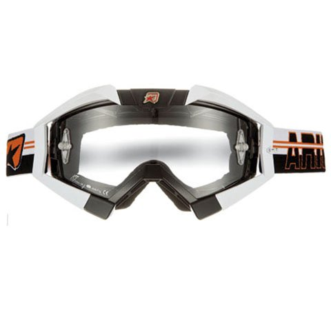 Ariete 13950 Tnbo Mx Goggle Riding Crows Top Line Black With White Outrigger And Orange Strap