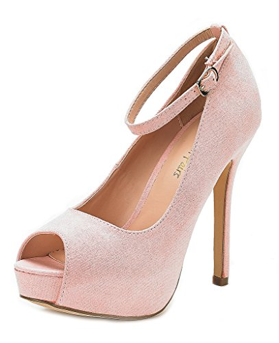 DREAM PAIRS Women's Swan-10 Pink High Heel Plaform Dress Pump Shoes - 7.5 M US