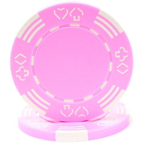 Trademark Poker Royal Suited Casino 50 Poker Chips, 11.5gm, Pink