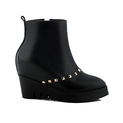 Materials Women's Black Blend Boots Closed Solid platform Toe Allhqfashion qvOEdq