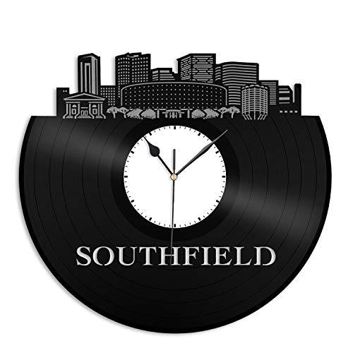 VinylShopUS - Southfield MI Vinyl Wall Clock City Skyline Cityscape Record Souvenir Unique Gift for Friends Men Women Office | Anniversary Home Room Decoration