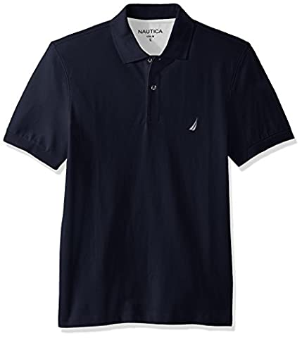 Nautica Men's Short Sleeve Solid Cotton Pique Polo Shirt, Navy, X-Large (Nautica Men Solid)